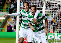 19/08/15 UEFA CHAMPIONS LEAGUE PLAY-OFF 1ST LEG<br /> CELTIC V MALMO<br /> CELTIC PARK - GLASGOW<br /> Nir Bitton (right) celebrates with Virgil Van Dijk after doubling Celtic's lead.