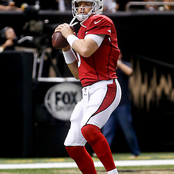 Sep 22, 2013; New Orleans, LA, USA; Arizona Cardinals quarterback Carson Palmer (3) against the New Orleans Saints before a game at Mercedes-Benz Superdome. The Saints defeated the Cardinals 31-7. Mandatory Credit: Derick E. Hingle-USA TODAY Sports