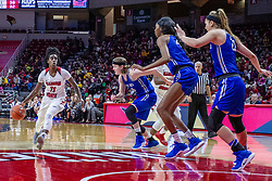 NORMAL, IL - December 20: Te Te Maggett eyes the prize during a college women's basketball game between the ISU Redbirds and the St. Louis Billikens on December 20 2018 at Redbird Arena in Normal, IL. (Photo by Alan Look)