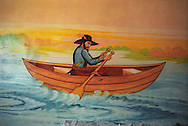 """A """"pilgrim boatman"""" painted on the wall of a Roma home, in the new part of the Sintesti Roma camp. Nautical scenes are very popular as wall decoration, but no-one within the camp knows the reason why they were first painted.."""
