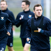 St Johnstone Training….Danny Swanson pictured during training at McDiarmid Park ahead of Sundays game against Celtic.<br />Picture by Graeme Hart.<br />Copyright Perthshire Picture Agency<br />Tel: 01738 623350  Mobile: 07990 594431