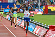 Mo Farah of Great Britain wins the Men's 3000m and last UK track race during the Muller Grand Prix Birmingham 2017 at the Alexander Stadium, Birmingham, United Kingdom on 20 August 2017. Photo by Martin Cole.