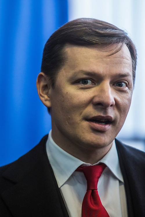 KIEV, UKRAINE - OCTOBER 26: Oleh Lyashko, head of Ukraine's Radical Party, speaks to reporters after casting his ballot at a polling station on October 26, 2014 in Kiev, Ukraine. The country's parliamentary elections are seen as key to President Petro Poroshenko's ability to advance his agenda. (Photo by Brendan Hoffman/Getty Images) *** Local Caption *** Oleh Lyashko