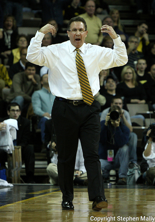 21 JANUARY 2009: Iowa head coach Todd Lickliter calls a timeout during the second half of an NCAA college basketball game Wednesday, Jan. 21, 2009, at Carver-Hawkeye Arena in Iowa City, Iowa. Iowa defeated Wisconsin 73-69 in overtime.