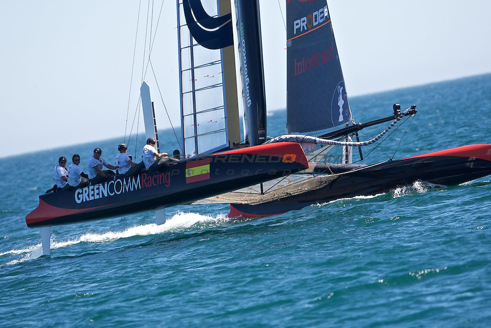AC World Series,Cascais,Portugal,8/ 7/2011.Last fleet Race, won by Oracle racing number 5 ,Rusell Coutts.Over all winner of the fleet racing was Emirates Team New Zealand