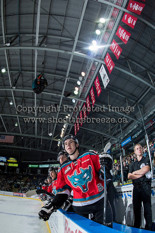 KELOWNA, CANADA - OCTOBER 31: Tate Coughlin #18 of the Kelowna Rockets stands on the bench ready to celebrate a first period goal against the Lethbridge Hurricanes on October 31, 2015 at Prospera Place in Kelowna, British Columbia, Canada.  (Photo by Marissa Baecker/Shoot the Breeze)  *** Local Caption *** Tate Coughlin;