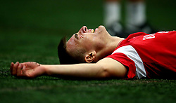 Harvey Smith looks exhausted after a bleep test as Bristol City Under 23's return to training with fitness testing ahead of the 2017/18 season - Mandatory by-line: Robbie Stephenson/JMP - 30/06/2017 - FOOTBALL - SGS Wise Campus - Bristol, United Kingdom - Bristol City Under 23's Fitness Tests