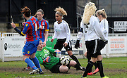 Sam Saint making the save to keep the score level during the FA Women's Premier League match between Crystal Palace LFC and Bedford Ladies at Bromley Football Club, Bromley, Kent, United Kingdom on 15 March 2015. Photo by Michael Hulf.