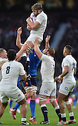 Twickenham, Great Britain,  Geoff PARLING hangs onto the line out ball during the Six Nations Rugby England vs France, played at the RFU Stadium, Twickenham, ENGLAND. <br /> <br /> Saturday   21/03/2015<br /> <br /> [Mandatory Credit; Peter Spurrier/Intersport-images]