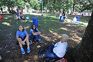 Mississippi fans reserve tailgating spots in the Grove at the University of Mississippi in Oxford, Miss. on Friday, October 3, 2014.  Mississippi plays host to Alabama on Saturday. (AP Photo/Oxford Eagle, Bruce Newman)