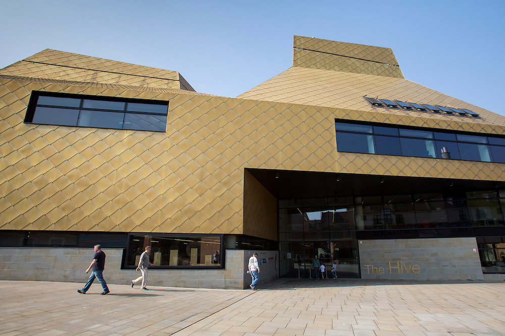 The main entrance to  The Hive in Worcester. The first fully integrated university and public library in the UK. It also houses the county archives and archaeology service, the local history centre and local authority hub. The building is low energy. Worcester, UK.
