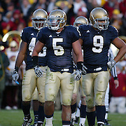 Notre Dame linebacker, Manti Teo prepares to take on USC in the 2009 Trojan 34-27 victory over the Irish.  Photo by Barry Markowitz, 10/17/09, 5pm