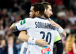 Cedric Sorhaindo of France and Rapheal Caucheteux of France celebrate after winning during handball match between National teams of Croatia and France on Day 7 in Main Round of Men's EHF EURO 2018, on January 24, 2018 in Arena Zagreb, Zagreb, Croatia.  Photo by Vid Ponikvar / Sportida