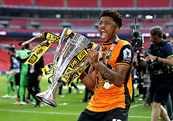 Chuba Akpom of Hull City celebrates Promotion the Premier League with the Playoff Final Trophy - Mandatory by-line: Robbie Stephenson/JMP - 28/05/2016 - FOOTBALL - Wembley Stadium - London, England - Hull City v Sheffield Wednesday - Sky Bet Championship Play-off Final