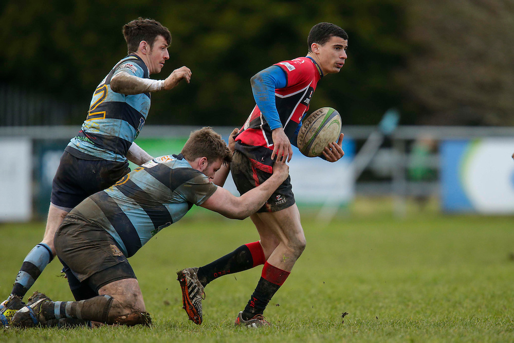 AIL Division 2c Rugby at Old Balreask, Navan 20th February 2016.<br /> Nacan RC vs Tullamore RC<br /> Ray Moloney / Conor Hand (Navan RC) & Jordan Conroy (Tullamore RC)<br /> Photo: David Mullen /www.cyberimages.net / 2016
