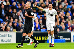 Jack Cork of Burnley complains with referee Martin Atkinson - Mandatory by-line: Ryan Hiscott/JMP - 30/09/2018 -  FOOTBALL - Cardiff City Stadium - Cardiff, Wales -  Cardiff City v Burnley - Premier League