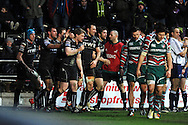 Jonathan Spratt of the Ospreys ©  celebrates after he scores the final  try. Heineken cup rugby, pool 2, Ospreys v Leicester Tigers at the Liberty Stadium in Swansea, South Wales on Sunday 13th Jan 2013. pic by Andrew Orchard, Andrew Orchard sports photography,