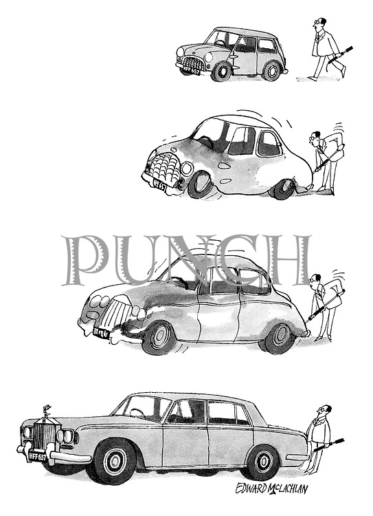 (Man pumping up a car and it changing from a Mini to a Rolls Royce)