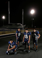 Photo by Alex Jones..Hidalgo Pirates: #81 Martin Carrasco, tight end, #54 Luis Peraza, left tackle, #15 Oscar Perez, quarterback, #20 Jaime Contreras, mid linebacker