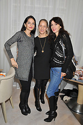 Left to right, YASMIN MILLS, OLIVIA NORMAN and LARA BOHINC at a ladies breakfast hosed by At Last! held at Grace, 11c West Halkin Street, London on 29th January 2013.