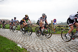 Leah Kirchmann (CAN) and Jolien D'hoore (BEL) across the first of many cobbled sectors at Brabantse Pijl 2018, a 136.8 km road race starting and finishing in Gooik on April 11, 2018. Photo by Sean Robinson/Velofocus.com