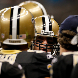 January 1, 2012; New Orleans, LA, USA; New Orleans Saints quarterback Drew Brees (9) huddles with teammates prior to kickoff of a game against the Carolina Panthers at the Mercedes-Benz Superdome. Mandatory Credit: Derick E. Hingle-US PRESSWIRE