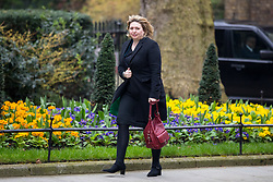 © Licensed to London News Pictures. 12/04/2018. London, UK. Secretary of State for Northern Ireland Karen Bradley arriving in Downing Street to attend a 'War Cabinet' meeting this afternoon. Discussion is expected on Britain's involvement on military action in Syria, following a suspected chemical attack. Photo credit : Tom Nicholson/LNP