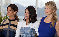 Marina Fois, Leila Bekhti and Virginie Efira, at the Le Grand Bain (Sink Or Swim) film photo call at the 71st Cannes Film Festival, Sunday 13th May 2018, Cannes, France. Photo credit: Doreen Kennedy