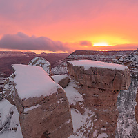 Beautiful winter sunrise turns everything pink. Mather Point Overlook, Grand Canyon National Park, Arizona