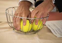 Balls during Official Draw of Davis Cup 2018 tournament between National teams of Slovenia and Poland, on February 2, 2018 in Mestna hisa - Mariborski Rotovz, Maribor, Slovenia. Photo by Rene Gomolj / Sportida