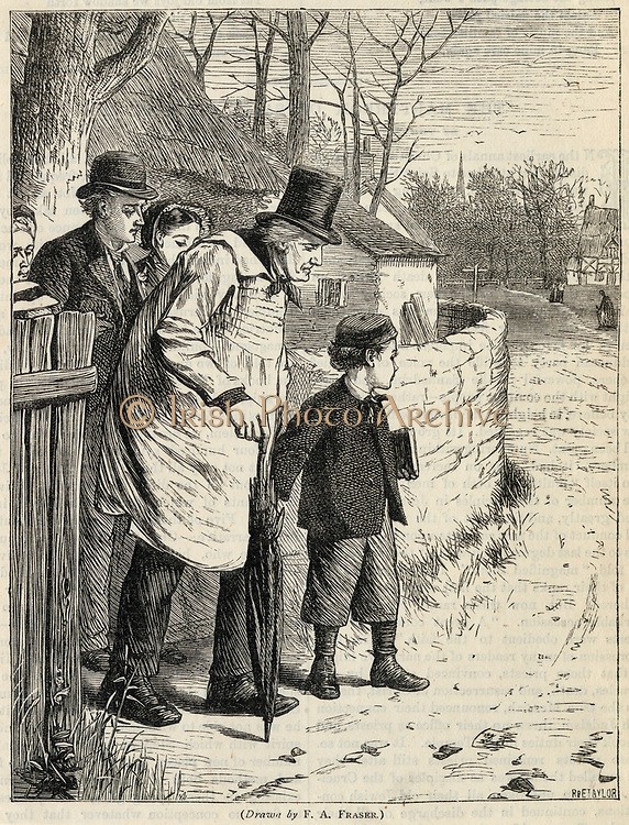 Family of country cottagers setting ou for Sunday morning church service. Engraving, 1876.