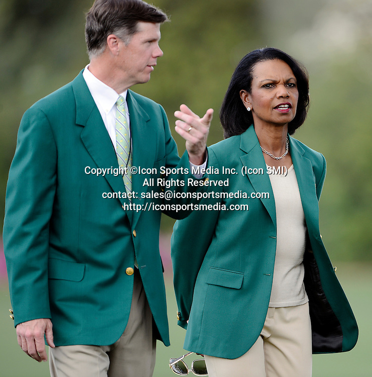 April 7, 2013 - Augusta, Georgia, U.S. - One of the newest greenjackets Condoleezza Rice takes a tour of the practice facility at Augusta National Golf Club, Sunday, April 7, 2013, in Augusta, GA.