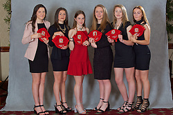 NEWPORT, WALES - Saturday, May 21, 2016: Chloe Griffiths, Ffion Morgan, Nia Rees, Aimee Watson, Cassia Pike and Lily Woodham at the Under-16's cap presentation at the Celtic Manor Resort. (Pic by David Rawcliffe/Propaganda)
