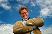 UK ENGLAND LONDON 8SEP03 - Young Dutch actor Ruben Brinkman (23), starring the role of young Vincent Van Gough in the theatre play Vincent in Brixton, poses for portraits on Hungerford Bridge opposite the Royal Festival Hall on the South Bank. This role, for which he got cast straight out of drama school, is his first international engagement<br />