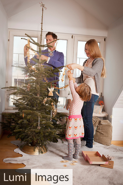 Parents and daughter decorating together Christmas tree, Munich, Bavaria, Germany