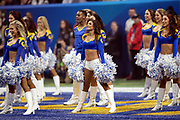The Los Angeles Rams cheerleaders do a dance routine in the end zone during the NFL Super Bowl 53 football game against the New England Patriots on Sunday, Feb. 3, 2019, in Atlanta. The Patriots defeated the Rams 13-3. (©Paul Anthony Spinelli)