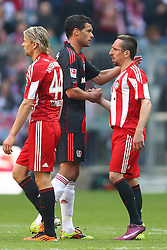 17.04.2011, Allianz Arena, Muenchen, GER, 1.FBL, FC Bayern Muenchen vs Bayer 04 Leverkusen, im Bild  Anatoliy Tymoshchuk (Bayern #44) Michael Ballack (Leverkusen #13) Franck Ribery (Bayern #7) nach dem Spiel, EXPA Pictures © 2011, PhotoCredit: EXPA/ nph/  Straubmeier       ****** out of GER / SWE / CRO  / BEL ******