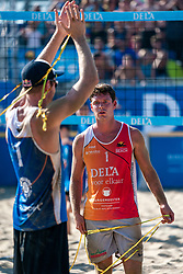 25-08-2019 NED: DELA NK Beach Volleyball, Scheveningen<br /> Last day NK Beachvolleyball / Alexander Brouwer #1, Christiaan Varenhorst #2 Dutch champion Beachvolleyball 2019, Dirk Boehlé