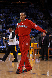Mar 16, 2012; Oakland, CA, USA; Milwaukee Bucks point guard Monta Ellis (11) warms up before the game against the Golden State Warriors  at Oracle Arena. Mandatory Credit: Jason O. Watson-US PRESSWIRE
