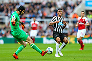 Isaac Hayden (#14) of Newcastle United attempts to makes a block as Petr Cech (#1) of Arsenal clears the ball during the Premier League match between Newcastle United and Arsenal at St. James's Park, Newcastle, England on 15 September 2018.