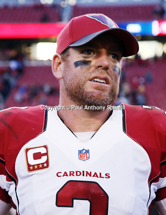 Arizona Cardinals quarterback Carson Palmer (3) looks on after the 2015 week 12 regular season NFL football game against the San Francisco 49ers on Sunday, Nov. 29, 2015 in Santa Clara, Calif. The Cardinals won the game 19-13. (©Paul Anthony Spinelli)