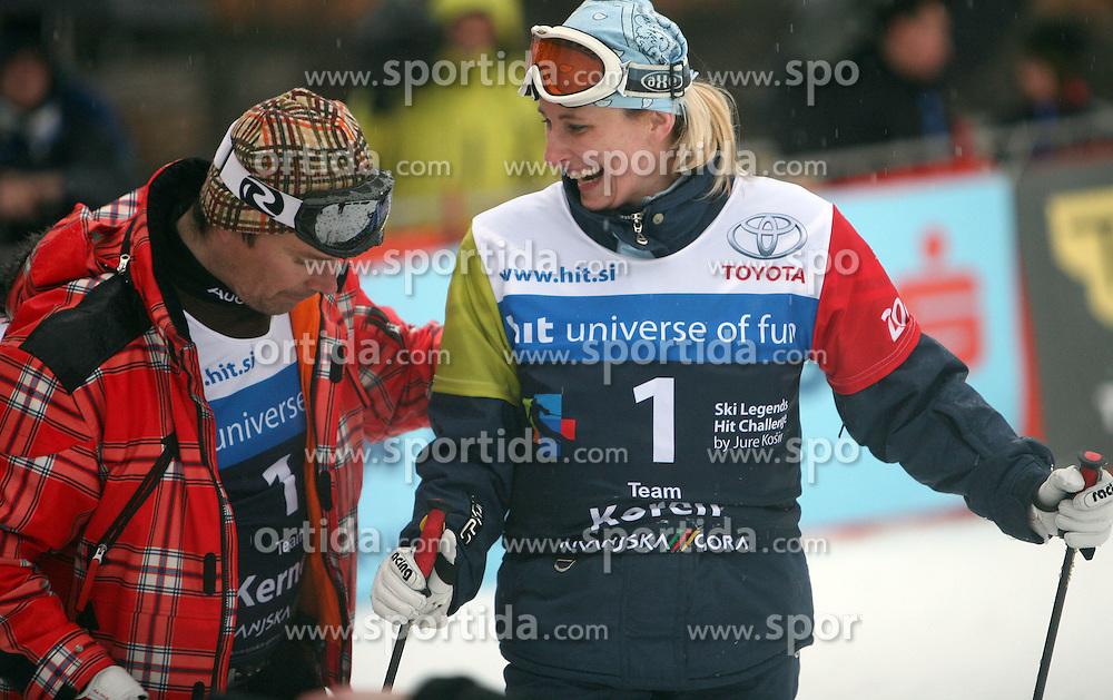 "Bruno Kernen helping Katja Koren after the second run of ""Ski Legends HIT Challenge by Jure Kosir"" event in Kranjska Gora, Slovenia, on February 2, 2008. (Photo by Vid Ponikvar / Sportal Images)."