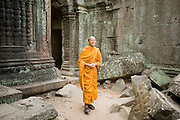 19 MARCH 2006 - SIEM REAP, SIEM REAP, CAMBODIA: A Buddhist monk walks through the Preah Khan temple complex within the environs of the Angkor Wat complex. Preah Khan, an 11th century temple built in the Buddhist tradition, is one of the outer temples of the Angkor complex and has not been restored like many of the temples in the Angkor complex.  Photo by Jack Kurtz / ZUMA Press