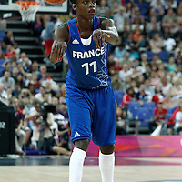 11 August 2012: France Emilie Gomis passes the ball during 86-50 Team USA victory over Team France, during the Women's Gold Medal Game, at the North Greenwich Arena, in London, Great Britain.