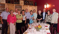 Gathering at O's Restaurant in the Wine Room to celebrate 262 years of marriage are David and Nancy Barth - 42 years, David and Barbara Shea - 43 years, George and Peggy Littlejohn - 49 years, Roger and Gail Menard - 44 years, Ray and Sally Trottier - 48 years and Kendall and Karen Coolidge - 36 years.  (Karen Bobotas/for the Laconia Daily Sun).