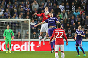 Zlatan Ibrahimovic Forward of Manchester United battles in the air during the UEFA Europa League Quarter-final, Game 1 match between Anderlecht and Manchester United at Constant Vanden Stock Stadium, Anderlecht, Belgium on 13 April 2017. Photo by Phil Duncan.