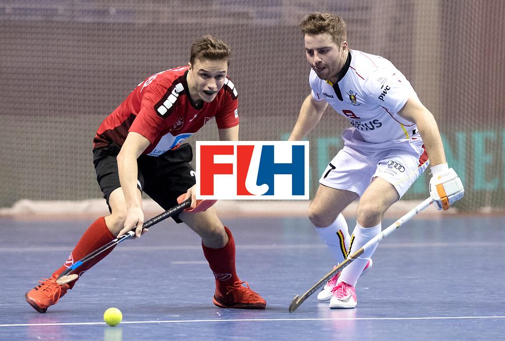 BERLIN - Indoor Hockey World Cup<br /> Men: Switzerland - Belgium<br /> foto: MARAITE Pierre Louis and SCHNEIDER Sebastian.<br /> WORLDSPORTPICS COPYRIGHT FRANK UIJLENBROEK
