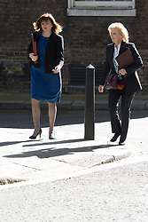 Downing Street, London, May 3rd 2016. Education Secretary Nicky Morgan and Small Business Minister Anna Soubry arrive at 10 Downing Street for the weekly cabinet meeting. &copy;Paul Davey<br /> FOR LICENCING CONTACT: Paul Davey +44 (0) 7966 016 296 paul@pauldaveycreative.co.uk