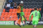 Forest Green Rovers Gavin Gunning(16) heads the ball clear during the EFL Sky Bet League 2 match between Barnet and Forest Green Rovers at The Hive Stadium, London, England on 7 April 2018. Picture by Shane Healey.