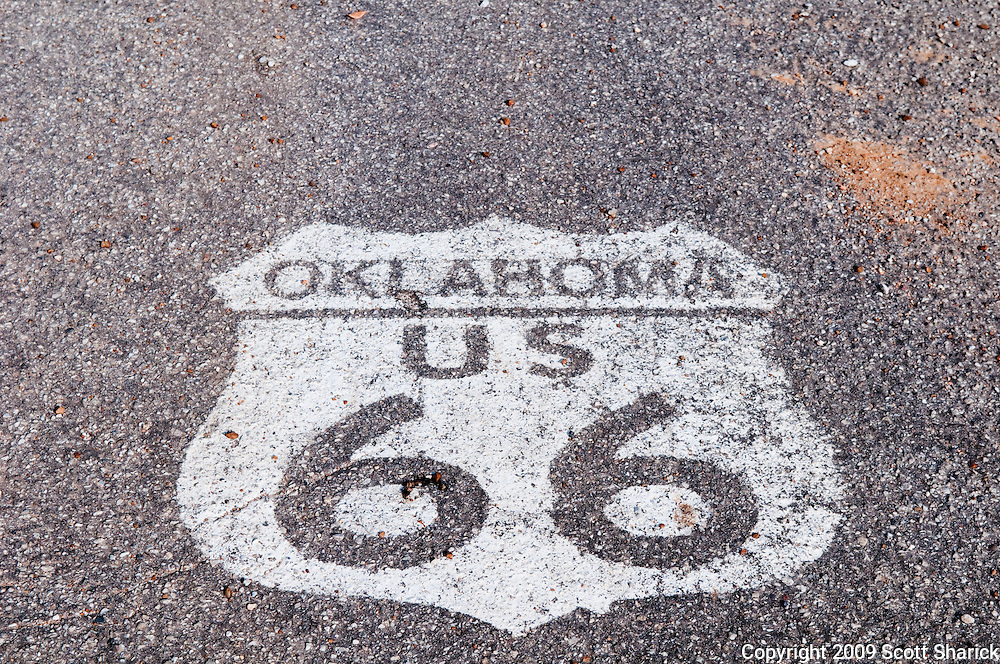 The Oklahoma Route 66 shield painted on the roadway. Missoula Photographer